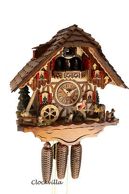cuckoo clock hettich black forest 8 day original german  music horse farm new Horse Cuckoo Clock