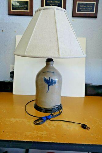 Antique Primitive Whites Binghamton New York Stoneware Jug Converted to Lamp
