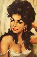 60er Oil Painting Pressure Picture Ilonka Gypsy Girl Queen Vintage -  - ebay.co.uk