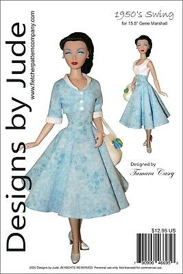 1950's Swing Doll Clothes Sewing Pattern 15.5