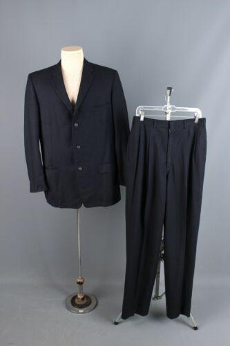 Vtg Mens 1950s 60s Blue Flecked Wool Suit Jacket sz 40-42 Large Pants 32x33 50s