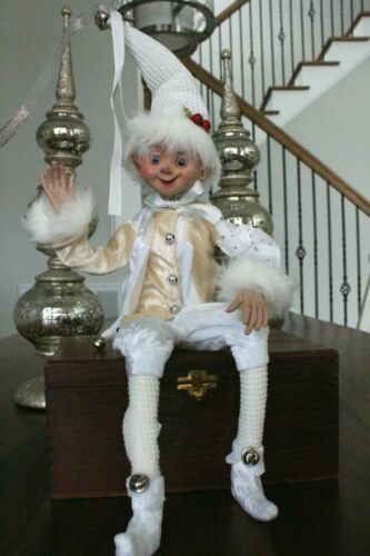 "Elf Raz Elf Christmas Shelf Sitter Poseable 20"" White Gold Fur Jester Elf C New"