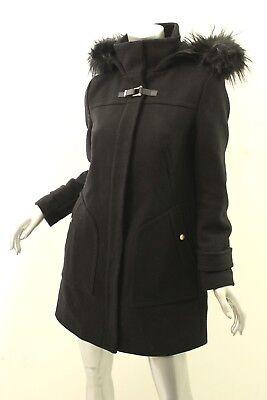 COLE HAAN Black Faux Fur Trim Hooded Wool Coat 4 -
