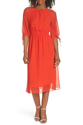 Maggy London Smocked Chiffon Dress, Shirred jewel neck, Lined, Sz 4P, $138, NWT - Maggy London Chiffon Dress