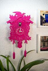 Cuckoo Clock in Pink Wall Clock Cute Birds Decal Room Home Art Decorations