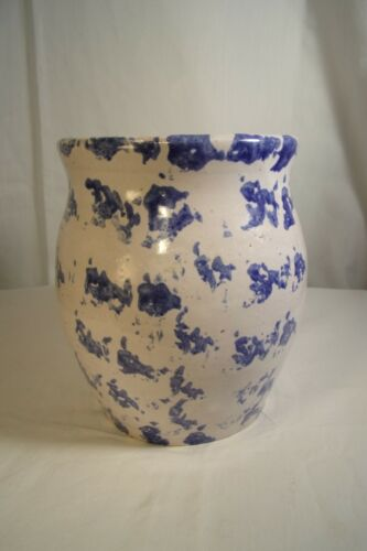 Vtg Blue Bybee BB Pottery Spongeware Unique Large Fluted Pot Vase Stoneware 6.5""