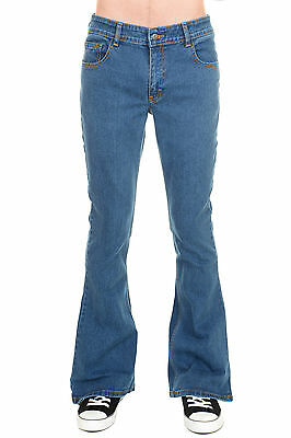 Mens Run & Fly 70s Retro Vintage Blue Stonewash Stretch Denim Bell Bottom Flares