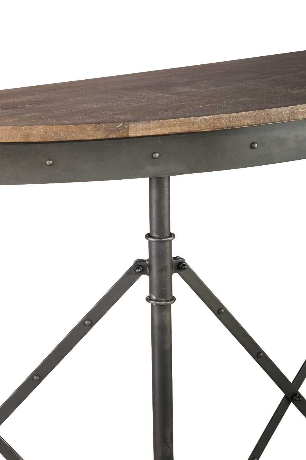 Console Hallway Entry Table Industrial Iron Rustic Wood