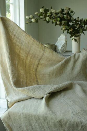 Antique dark hemp European sheet TEXTURAL natural fabric circa 1900 center seam