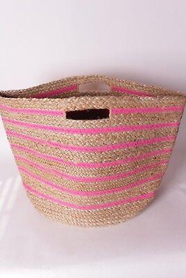 - NIP Pottery Barn Kids Bright Pink stripe raffia floor storage basket bin large