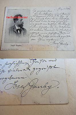 JOSEF GAUBY (1851-1923): Eigenhändige Porträt-AK Graz 1904 an Edmund Reim!