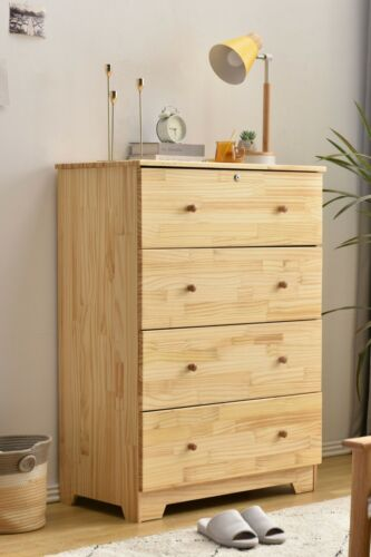 Super Jumbo Chest 4 Deep Drawers 100% Solid Pine Wood; Storage Dresser With Lock