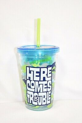 10oz Kids Green Camo Trouble Reusable Plastic Travel Sippy Cup w/ Straw BPA Free