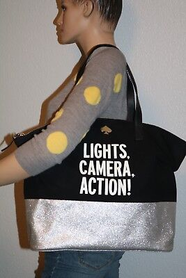 Kate Spade Lights Camera Action Large Tote Black Silver Limited Edition Rare