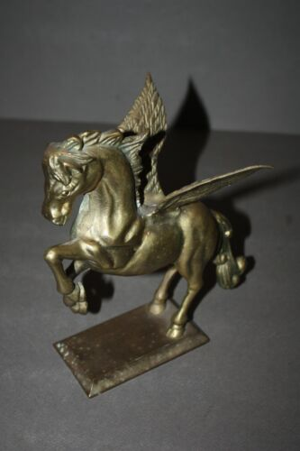 VINTAGE BRASS TONE JUMPING WINGED MYTHICAL PEGASUS HORSE STATUE FIGURINE