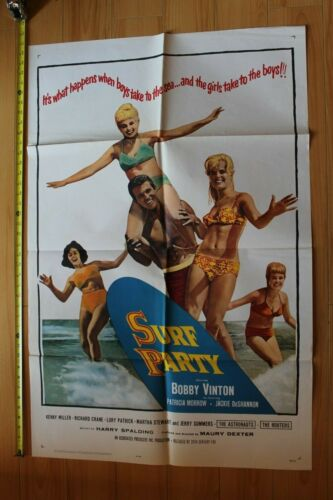 SURF PARTY 1964 Bobby Vinton Top Cr8 Vintage (Folded) Rare Lithograph POSTER