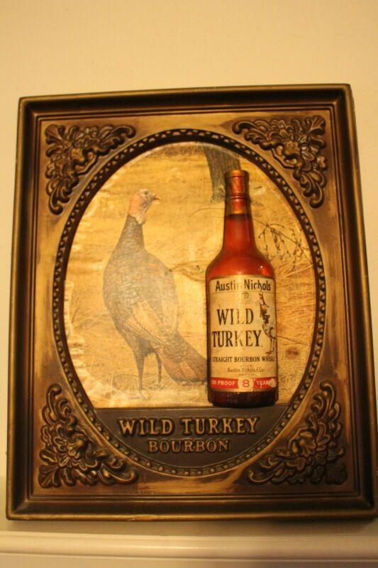 Wild Turkey Bar Sign Plastic Vintage for Man Cave Retro