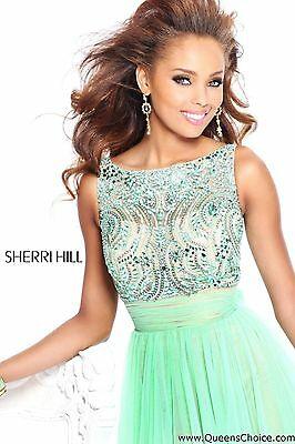 Sherri Hill Prom Formal Cocktail Dress Short Mint Green Jeweled ...