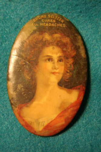 Early 1900s Adv. Pocket Mirror - Bromo Seltzer - Portrait of Lady