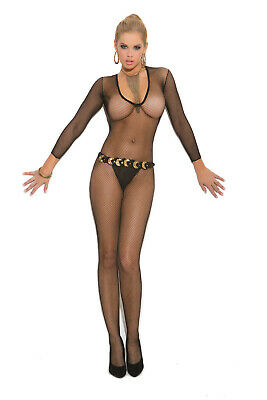 Deep V Cut Fishnet Bodystocking with Open Crotch Adult Woman Clothing Hosiery