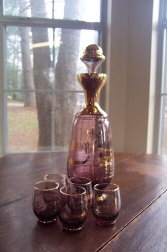 Vintage Venetian Murano 7 Piece Cordial Set/Decanter with 5 Glasses ~ Amethyst