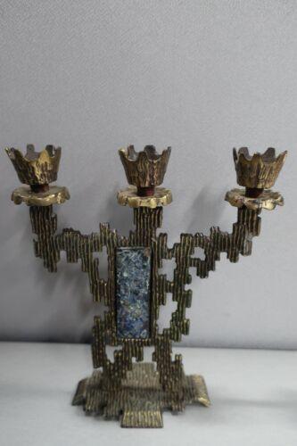 Vintage KL Israel Brass Metal Candle Holder Brutalist Shabbat Jerusalem MCM