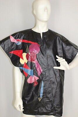 vtg 80's Black leather Bat-wing womens vintage vest patchwork snakeskin jacket L