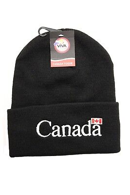 CANADA Country Flag With WHITE Title BLACK TOQUE HAT..VIVA SOUVENIRS..New ()