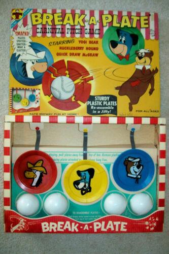 Vintage 1961 Huck, Yogi & Quick Draw Break-A-Plate Game  NM/Unused