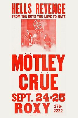 Motley Crue at The Roxy in Los Angeles Concert Poster 1982  12x18