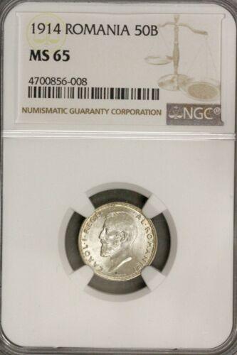 1914 Romania 50 Bani  NGC MS 65