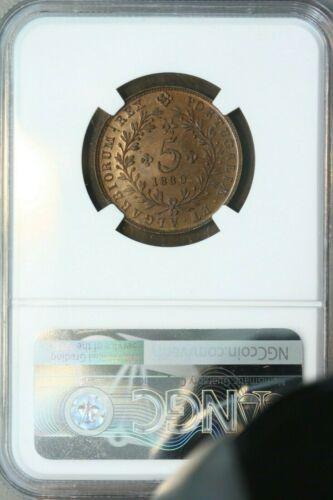 Azores 1880 5 Reis NGC MS 64BN Rare Grade Pop 1/1
