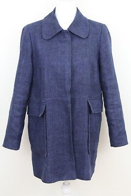 Double Breasted Two Pocket Coat (Zara Heather Blue Trench Coat Jacket Button Down Collar Two Pocket Womens Medium )