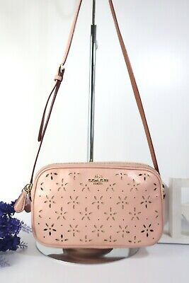 COACH Laser Cut Glitter Double Pouch Crossbody Bag F65553 Pink Leather ~ Ex Con