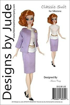 Classic Suit Clothes Sewing Pattern for Silkstone Barbie Dolls