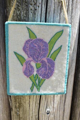 Native American Beaded Bag, Iris Motif