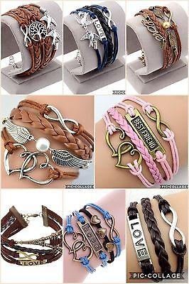 ∞ Freundschaft Infinity Perle Leder Charm Armband Color Trend unendlich unisex ∞ (Freundschaft Charm Armbänder)