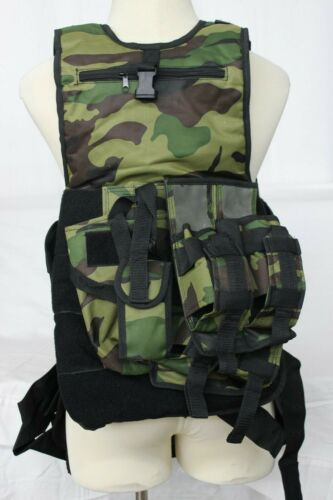 Pre-Owned Gen X Global Camo Deluxe Padded Tactical Vest-Camo Pattern W/Blk Apron