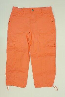 Cuff Capri (Style & Co. Womens Capri Bungee Cuff Hem Comfort Waist Cargo Capri Pants Coral)