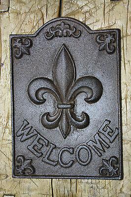 Large Cast Iron FLEUR DE LIS WELCOME Plaque Finial Garden Sign Home Decor   - Fleur De Lis Plaque