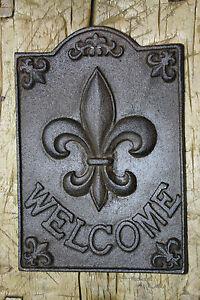 Large Cast Iron Fleur De Lis Welcome Plaque Finial Garden Sign Home Decor