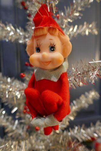Vintage Felt Pixie Knee Hugger Elf Made in Japan Christmas