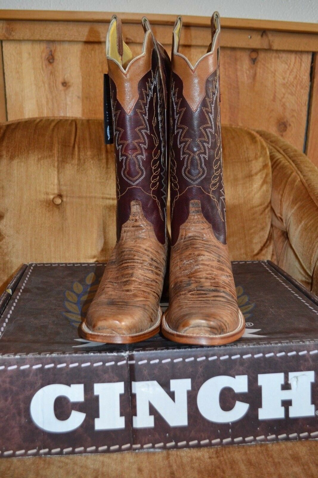 NEW Men's Cinch Cowboy Boots Size 10D Leather Blunt Square T