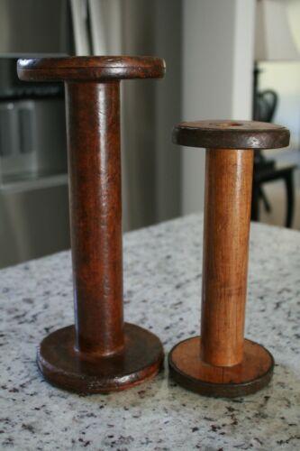 2 Wood Thread Yarn Spools Industrial Textile Wooden Display Vintage Industrial