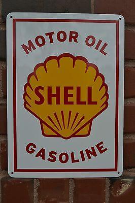 SHELL MOTOR OIL & GASOLINE VINTAGE METAL SIGN