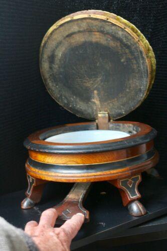 SUPER RARE & WONDERFUL 1800s WALNUT MECHANICAL FOOT STOOL SPITTOON TRANSFORMER