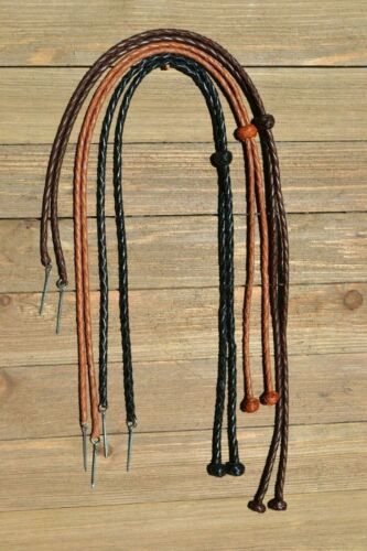 Natural Braided Leather Stampede String with Knots & Cotter Pin -Assorted Colors