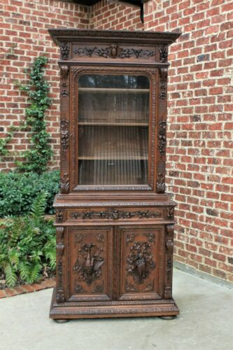 Antique French Bookcase HUNT Cabinet Jacobean Display Buffet Sideboard Oak
