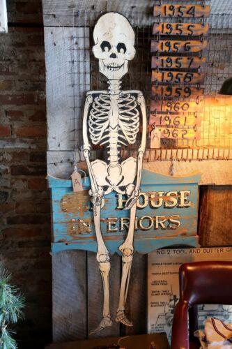 Vintage Halloween Jointed Skeleton Cardboard Store Door Display Medical bones