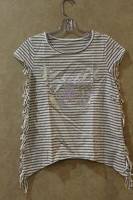 The Childrens Place  Ivory Cap Sleeve top Butterfly & Stripe  Sz XL 14____ M20F3